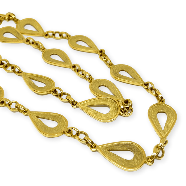 "Mark Areias Jewelers Jewellery & Watches Estate Textured Pear Link Chain Necklace 18K Yellow 24"" 14 x 22mm 64 Grams!"