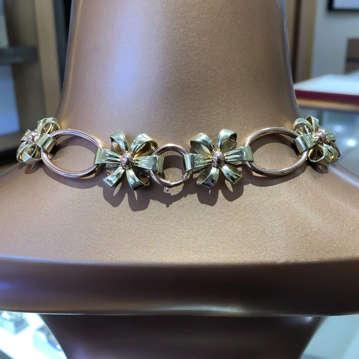 "Mark Areias Jewelers Jewellery & Watches Estate Tiffany & Co. Rose and Yellow Gold 14 Karat Flower Necklace 17"" 73.23gr"