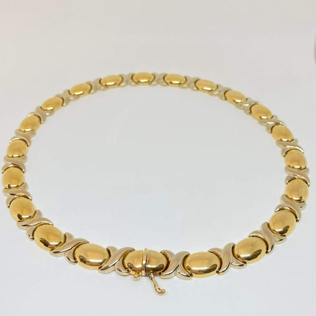 "Mark Areias Jewelers Jewellery & Watches Estate ""XO"" Chain Necklace 14K Yellow & White Gold 18"" 11mm 42.80 Grams!"