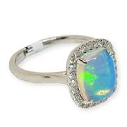 Mark Areias Jewelers Jewellery & Watches Ethiopian Cushion Cabochon Opal & Diamond Ring 14K White Gold 1.67CT
