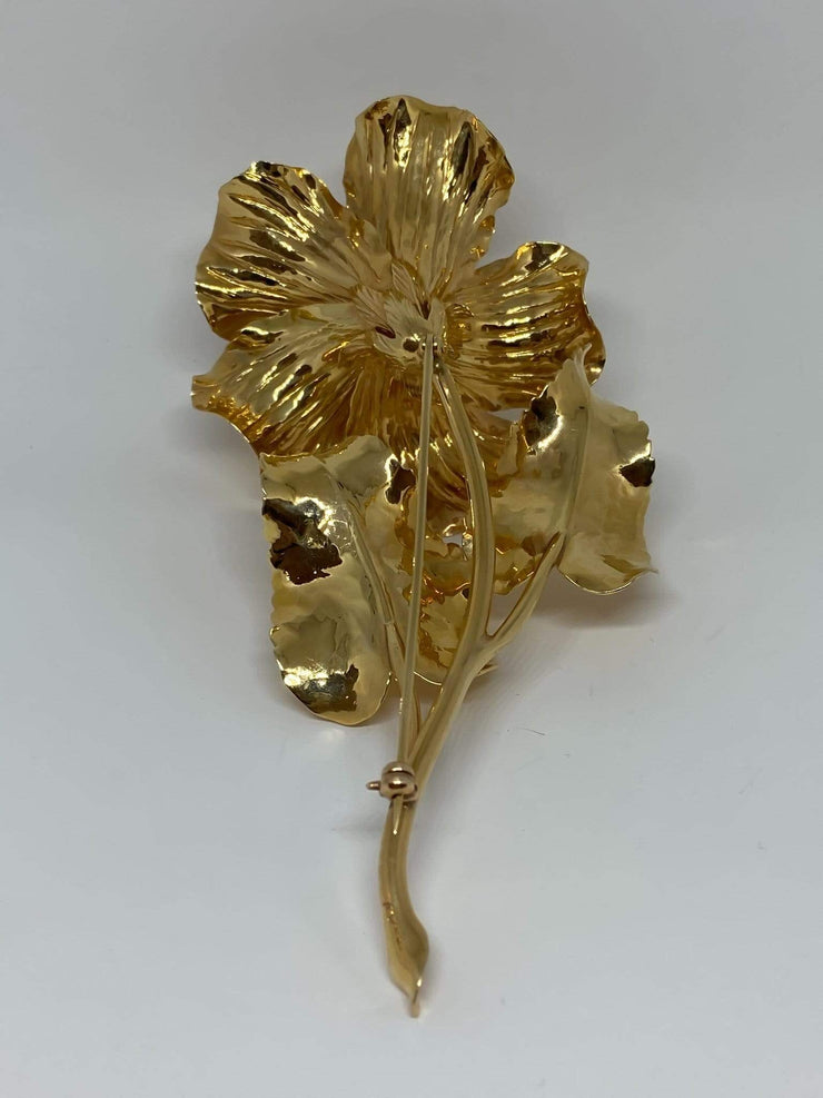 Mark Areias Jewelers Jewellery & Watches Extra Large XL Hibiscus Flower Brooch Pin 46 grams 14K Yellow Gold