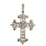 Mark Areias Jewelers Jewellery & Watches Fancy Leaf Filigree Diamond Cross Pendant Enhancer 18K White Gold .61 CTW