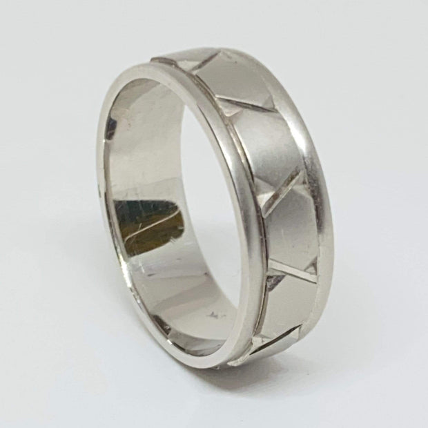 "Mark Areias Jewelers Jewellery & Watches Fancy Platinum Woven ""X"" Satin Wedding Band 7mm Size 10"