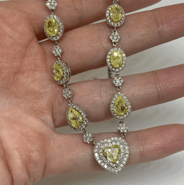 Mark Areias Jewelers Jewellery & Watches Fancy Yellow Diamond Heart, Pear, Oval Riviera Necklace 18 Karat 14.66 Carat