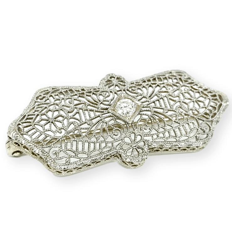 Mark Areias Jewelers Jewellery & Watches Filigree Diamond Pin Brooch 14K White Gold 0.10 Carat