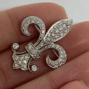 Mark Areias Jewelers Jewellery & Watches Fleur De Lis Diamond Pin Brooch or Pendant 18K White Gold 0.60 CTW