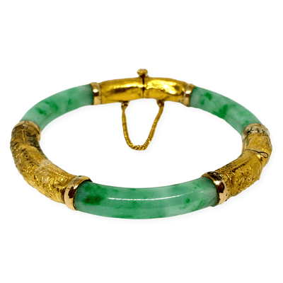 Mark Areias Jewelers Jewellery & Watches Floral Antique Vintage Green Jade Bangle w/Screw 20K Yellow Gold