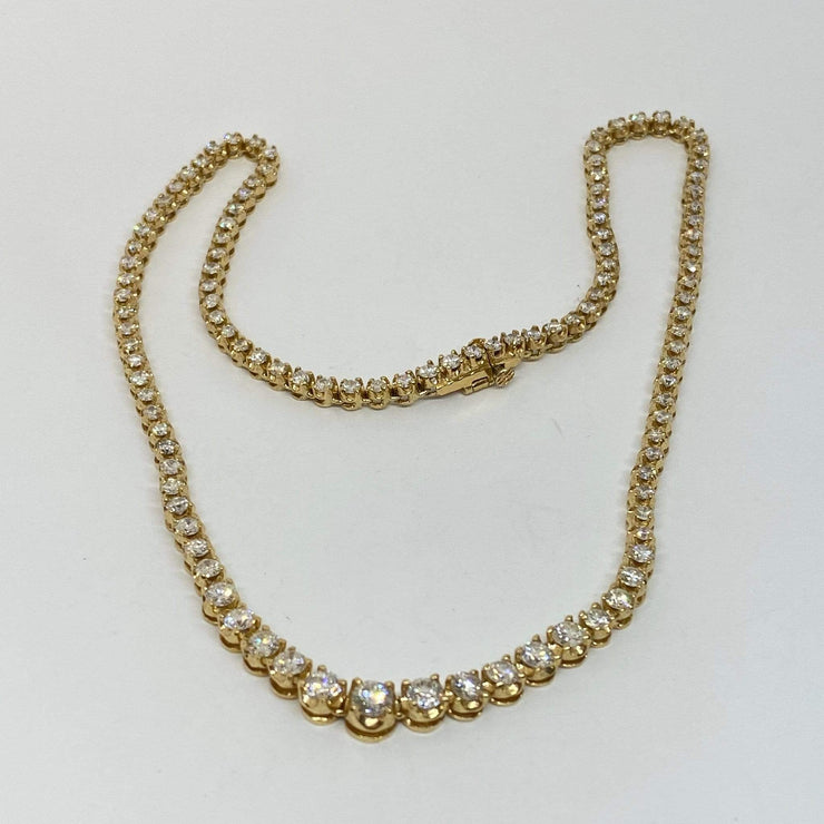 Mark Areias Jewelers Jewellery & Watches Graduated Diamond Riviera Tennis Necklace 6 ctw VS G-H 14K Yellow Gold 16""
