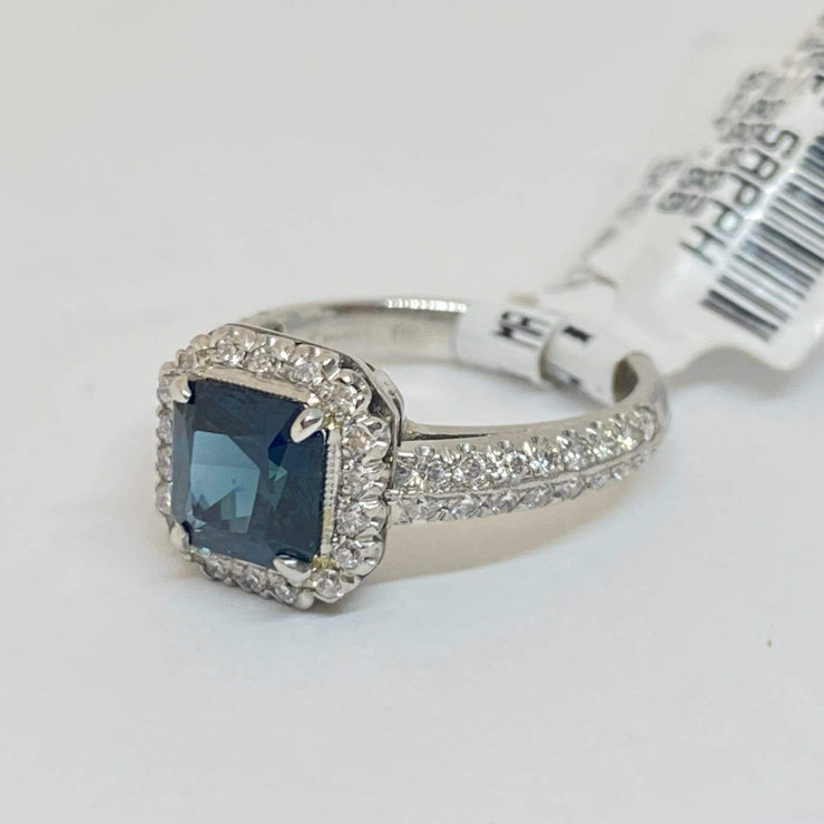 Mark Areias Jewelers Jewellery & Watches Handmade Custom Square Blue Sapphire & Diamond Halo Ring Platinum 1.77CT No Heat