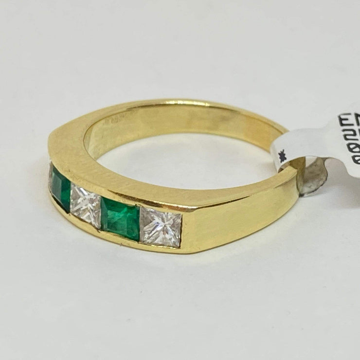 Mark Areias Jewelers Jewellery & Watches Handmade Ring Columbian Emerald and Diamond Channel Set Ring Band 18KY