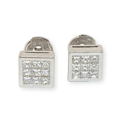 Mark Areias Jewelers Jewellery & Watches Invisible Set Princess Cut Diamond Square Post Earrings 18KW .90CTW