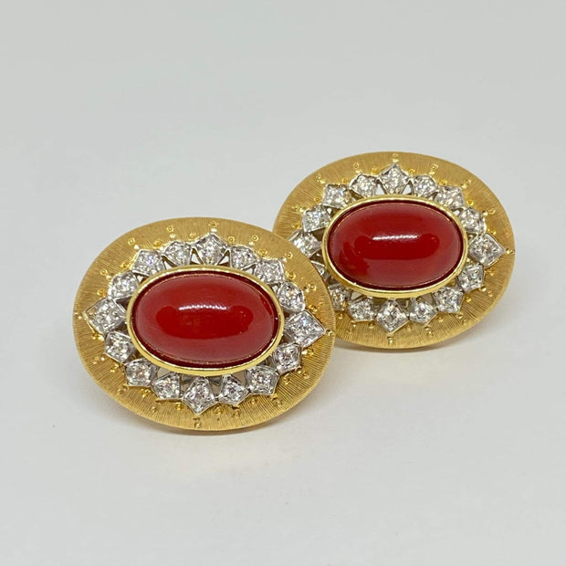 Mark Areias Jewelers Jewellery & Watches Italian Vergano Cabochon Red Coral and Diamond Omega Earrings 18KY