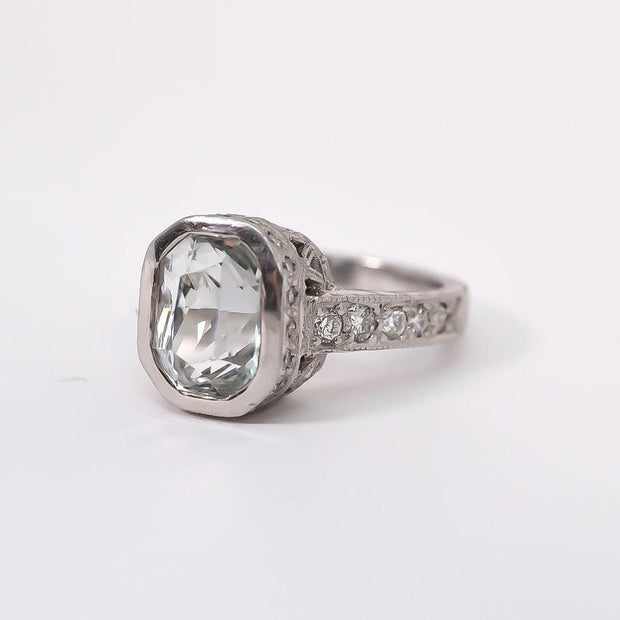 Mark Areias Jewelers Jewellery & Watches Jack Kelege White Sapphire & Diamond Bezel Pave Ring Platinum