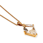 Mark Areias Jewelers Jewellery & Watches Kite Shape Clear White Quartz & Diamond Pendant 18K Rose Gold