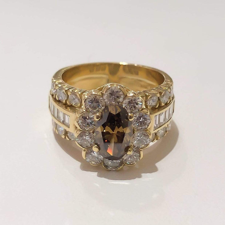 Mark Areias Jewelers Jewellery & Watches Ladies Fancy Deep Brown Oval Diamond Halo Wide Ring 1.18CT 18K Yellow Gold