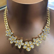 Mark Areias Jewelers Jewellery & Watches Ladies Large Diamond Pave Flower Necklace on Curb Chain 14.50ctw VS1 F-G 18K