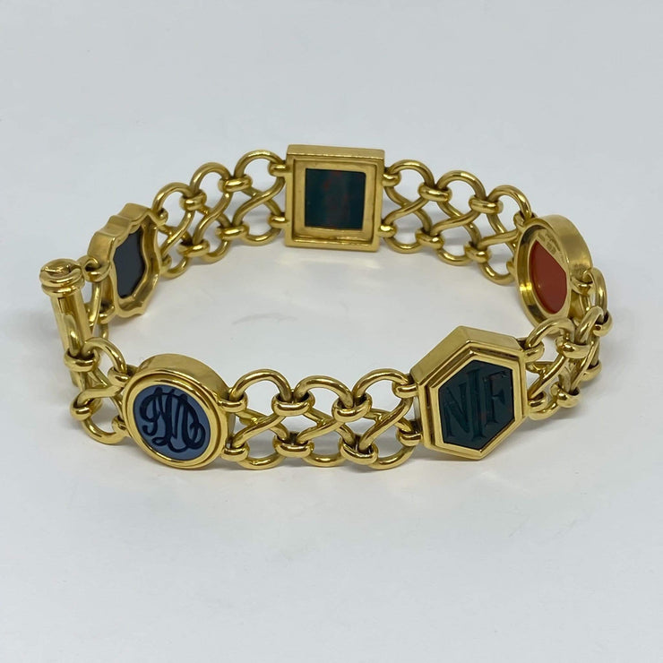 Mark Areias Jewelers Jewellery & Watches Lady's Agate & Bloodstone Intaglio Carved Open Link 18K Yellow Gold Bracelet
