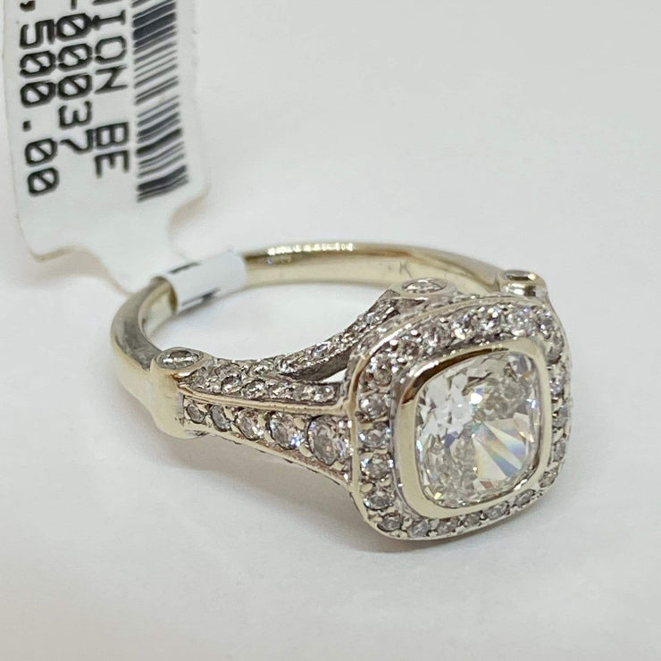 Mark Areias Jewelers Jewellery & Watches Lady's Diamond Cushion Bezel Pave Halo Engagement Wedding Ring 1.21CT 14KW GIA