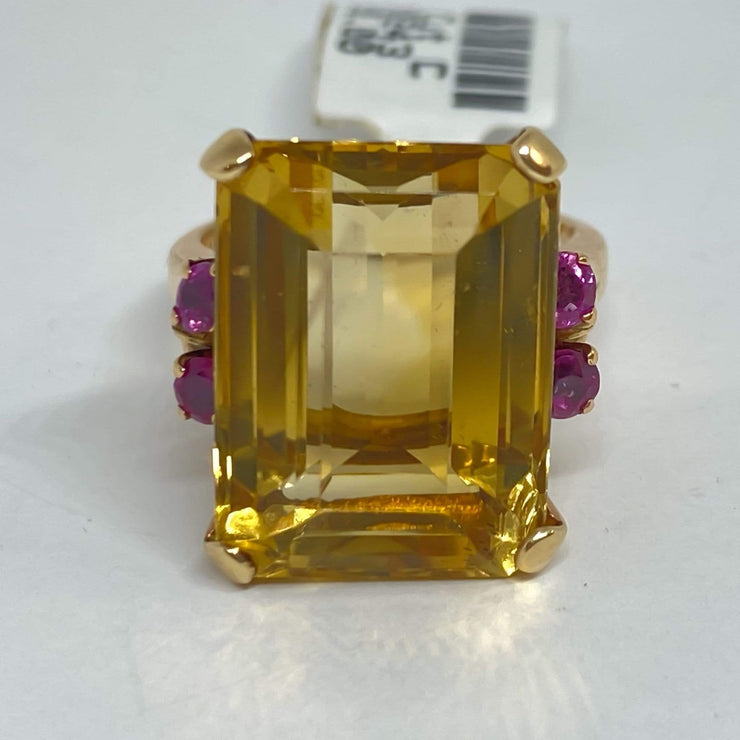 Mark Areias Jewelers Jewellery & Watches Lady's Emerald Cut Citrine & Ruby Ring 14K Rose Gold 13.63 Carat