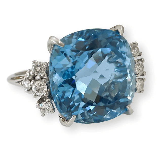 Mark Areias Jewelers Jewellery & Watches Lady's Estate Fine Cushion Aquamarine & Diamond Ring 18K White Gold 18.62 Carat