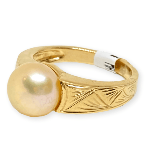 Mark Areias Jewelers Jewellery & Watches Lady's Estate Freshwater Golden Button Pearl 14K Yellow Gold Carved Ring