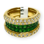 Mark Areias Jewelers Jewellery & Watches Lady's Estate Green Tsavorite Garnet & Diamond Wide Band 2.00ctw 18KY