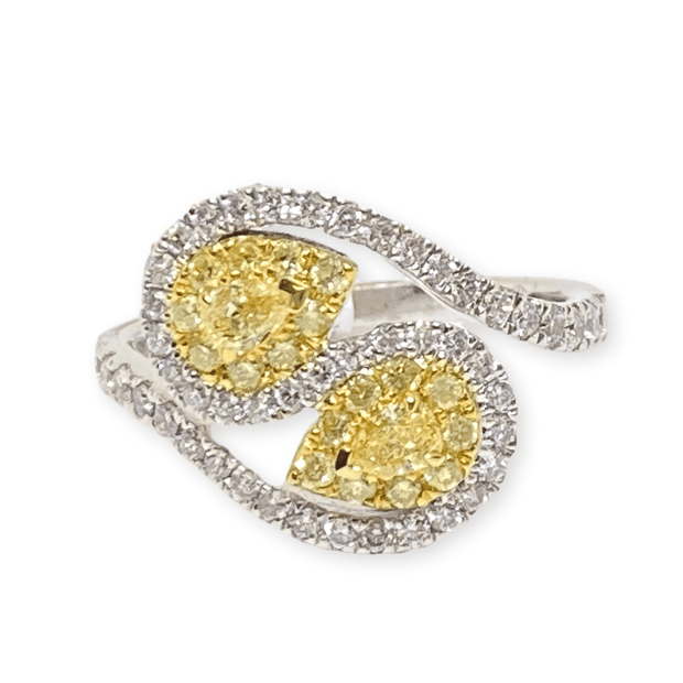 Mark Areias Jewelers Jewellery & Watches Lady's Fancy Yellow Pear Diamond Swirl Fashion Ring 14K TT 1.03 CTW