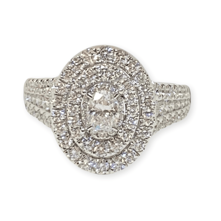 Mark Areias Jewelers Jewellery & Watches Lady's Illusion Double Oval Halo Pave Diamond Ring 1.50CTW 14K White Gold