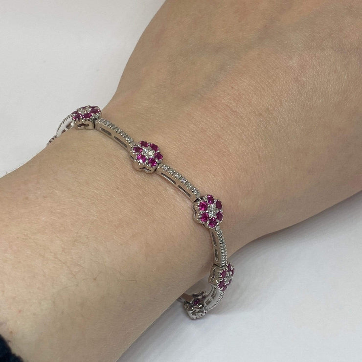Mark Areias Jewelers Jewellery & Watches Lady's Natural Pink Sapphire Flower Link Pave Bracelet 3.48CTW 14KW 7.25""
