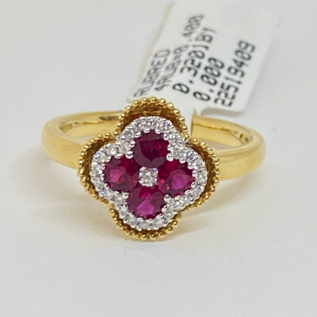Mark Areias Jewelers Jewellery & Watches Lady's Natural Ruby & Diamond Cloverleaf Clover Ring 18K Yellow Gold 1.13 Carat