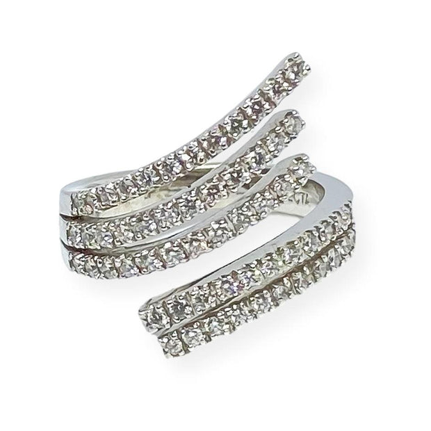 Mark Areias Jewelers Jewellery & Watches Lady's Pave Diamond Fashion Bypass Right Hand Ring .59ctw 14K White Gold
