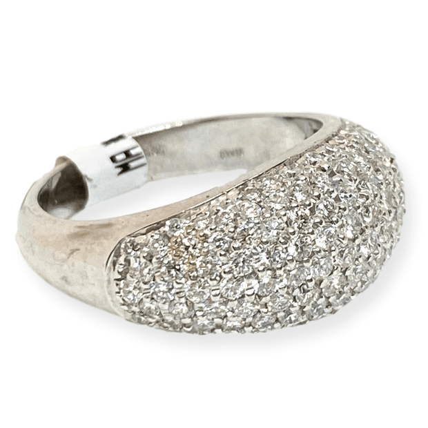 Mark Areias Jewelers Jewellery & Watches Lady's Pave Diamond Fashion Dome Right Hand Ring 1.35ctw 18K White Gold