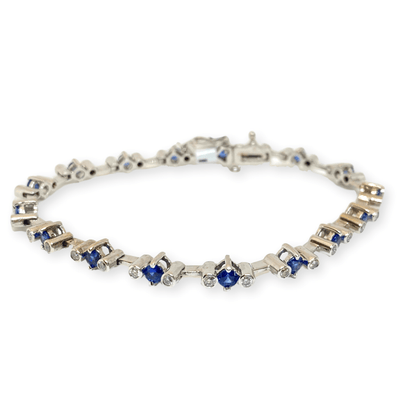 Mark Areias Jewelers Jewellery & Watches Lady's Round Blue Sapphire & Diamond Tennis Bracelet 2.40 CTW 14K White Gold