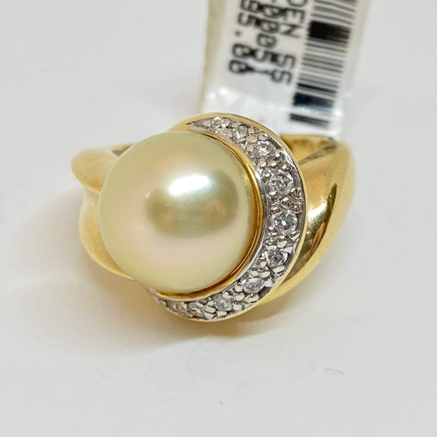 Mark Areias Jewelers Jewellery & Watches Lady's South Sea Golden Round Pearl 14K Yellow Gold Diamond Ring 11.50mm .30CTW