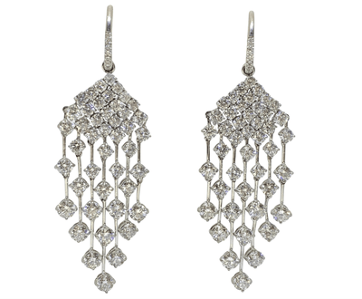 Mark Areias Jewelers Jewellery & Watches Large Chandelier Huggie Round Diamond Dangle Earrings 16.27 Carat Platinum