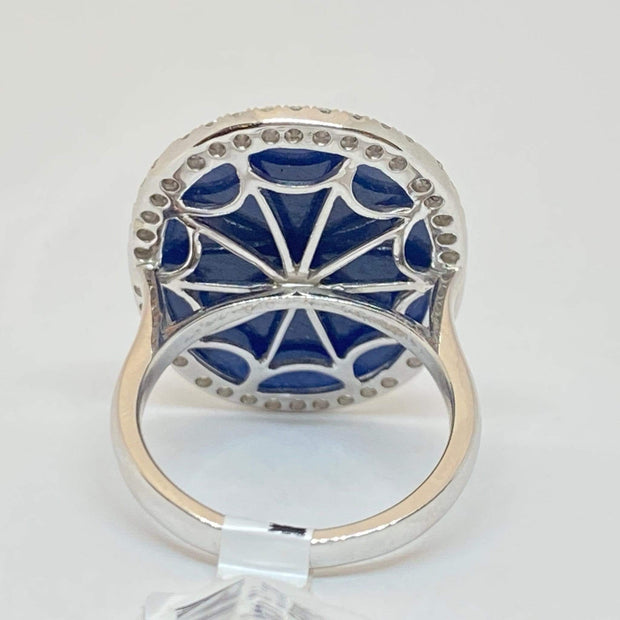 Mark Areias Jewelers Jewellery & Watches Large Oval Cabochon Slice Blue Sapphire & Diamond Halo Ring 18KW 17.07CT