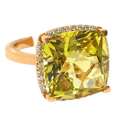 Mark Areias Jewelers Jewellery & Watches Lisa Nik Cushion Lemon Quartz & Halo Diamond Ring 18K Rose Gold 13mm