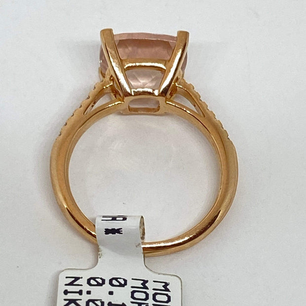 Mark Areias Jewelers Jewellery & Watches Lisa Nik Cushion Morganite & Diamond Ring 18K Rose Gold 10mm