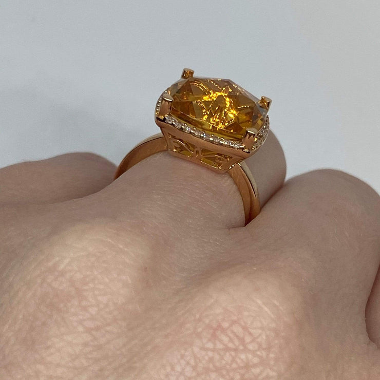 Mark Areias Jewelers Jewellery & Watches Lisa Nik Orange Cushion Citrine & Halo Diamond Ring 18K Rose Gold 13mm