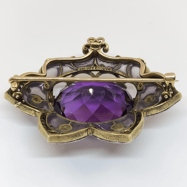 Mark Areias Jewelers Jewellery & Watches Marcus & Co. Plique-à-Jour Art Nouveau Amethyst and Pearl Brooch
