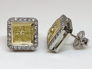 Mark Areias Jewelers Jewellery & Watches Mark Areias Handmade Fancy Yellow & White Diamond Square Halo Earrings