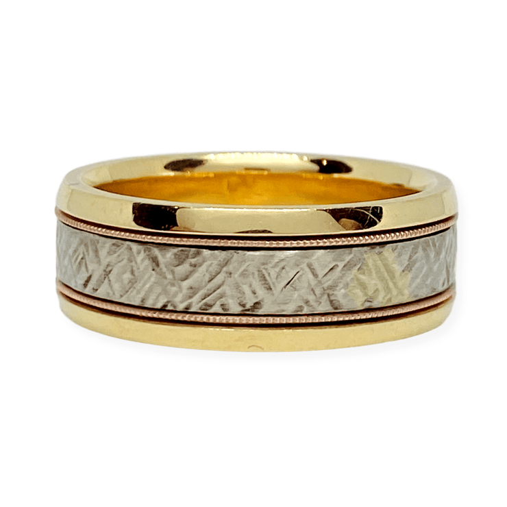 Mark Areias Jewelers Jewellery & Watches Mark Areias Jewelers Handmade Custom Wedding Band Crosshatch 14K