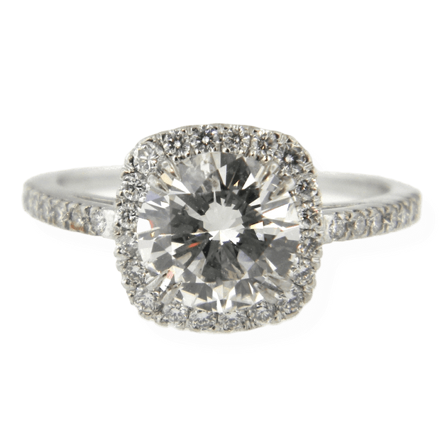 Mark Areias Jewelers Jewellery & Watches Mark Areias Jewelers Handmade Diamond Halo Engagement Ring in Platinum