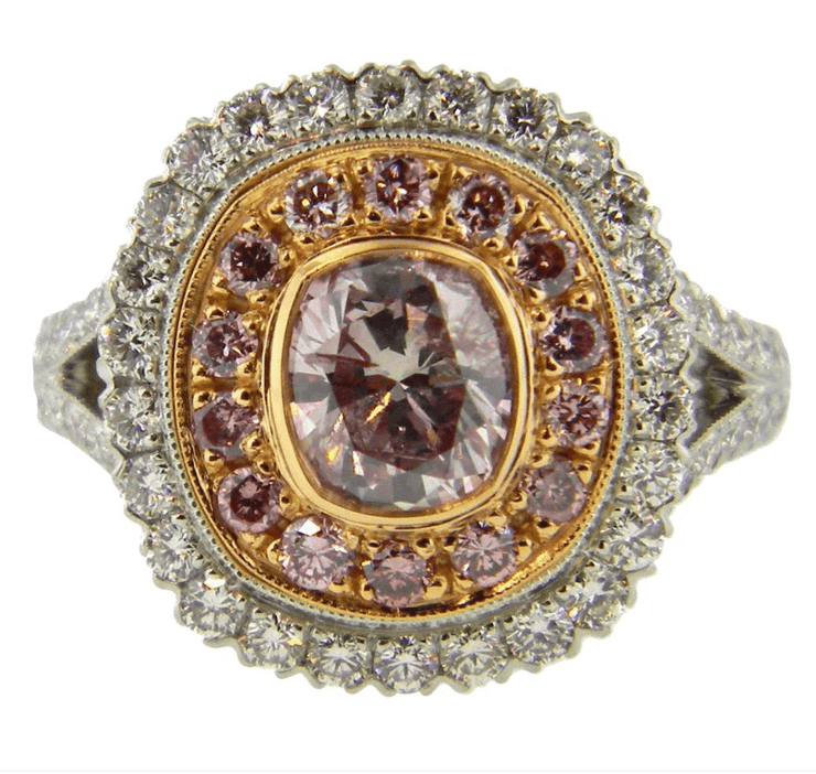 Mark Areias Jewelers Jewellery & Watches Mark Areias Jewelers Handmade Platinum Pink & White Diamond Ring