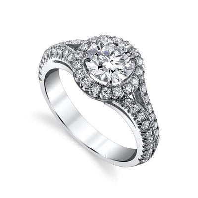 Mark Areias Jewelers Jewellery & Watches Mark Areias Jewelers Handmade Platinum Round Diamond Engagement Ring 1.24 CT