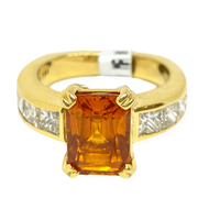 Mark Areias Jewelers Jewellery & Watches Mark Areias Jewelers Orange Sapphire & Diamond Ring Handmade 18K Yellow Gold