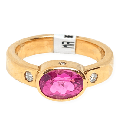 Mark Areias Jewelers Jewellery & Watches Mark Areias Jewelers Pink Tourmaline & Diamond Ring Handmade in 14K Rose Gold
