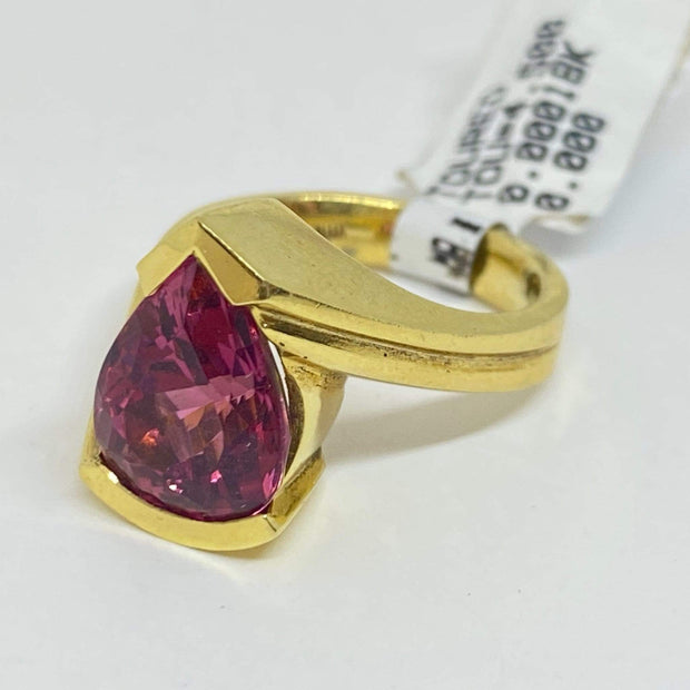 Mark Areias Jewelers Jewellery & Watches Mark Areias Jewelers Pink Tourmaline Ring Handmade in 18K Yellow Gold 4.50 CT