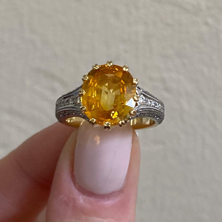 Mark Areias Jewelers Jewellery & Watches Mark Areias Jewelers Yellow Sapphire & Diamond Platinum Handmade Ring 5.55CT