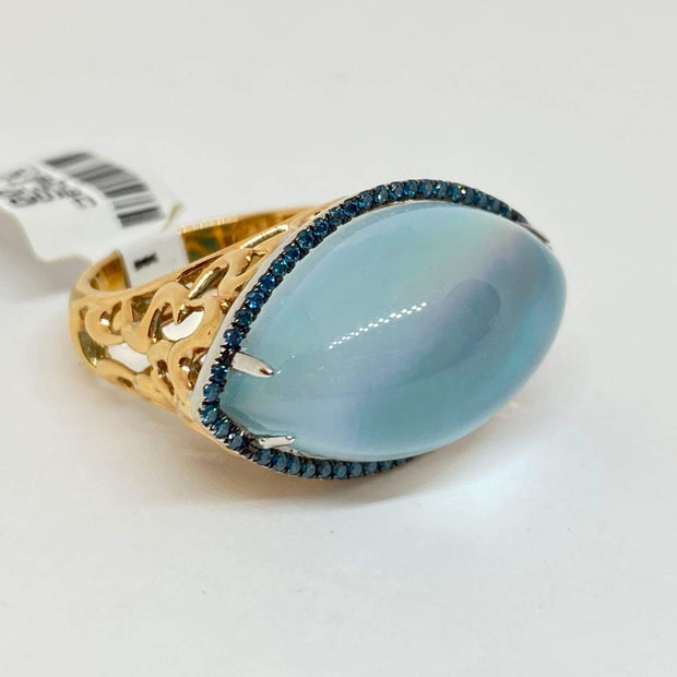 Mark Areias Jewelers Jewellery & Watches Marquise Cabochon Turquoise, Pearl, Quartz, Blue Diamond Filigree Ring 18K Rose